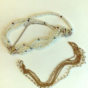 3/$15 D~ Pearl necklace bundle